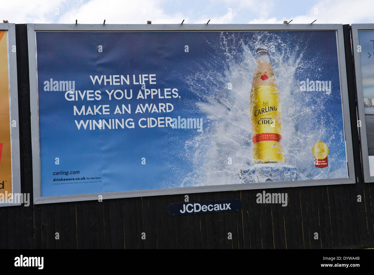 Carling Cider advertising billboard on JCDecaux roadside site in Newport South Wales UK - Stock Image