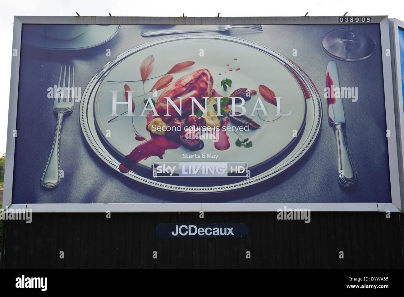 Sky Living HD Hannibal advertising billboard on JCDecaux roadside site in Newport South Wales UK - Stock Image