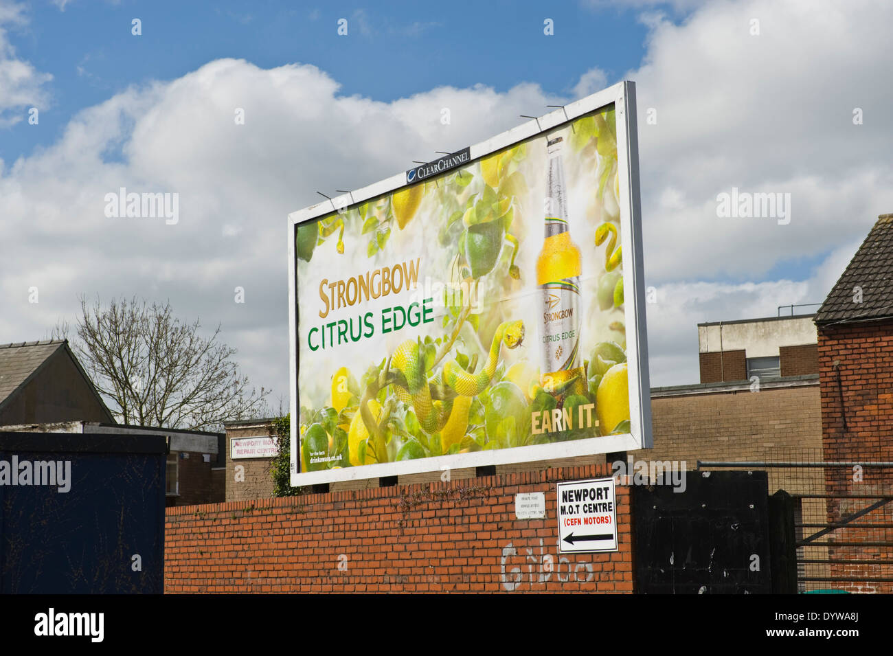 Bulmer's Strongbow Citrus Edge Cider advertising billboard on ClearChannel roadside site in Newport South Wales UK - Stock Image