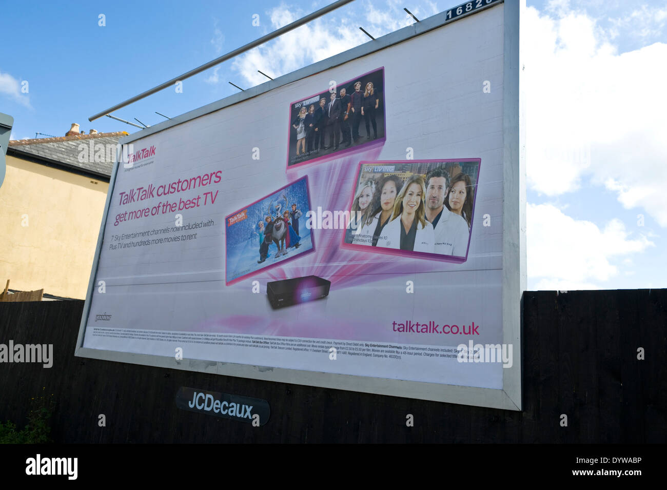 TalkTalk TV advertising billboard on JCDecaux roadside site in Newport South Wales UK - Stock Image