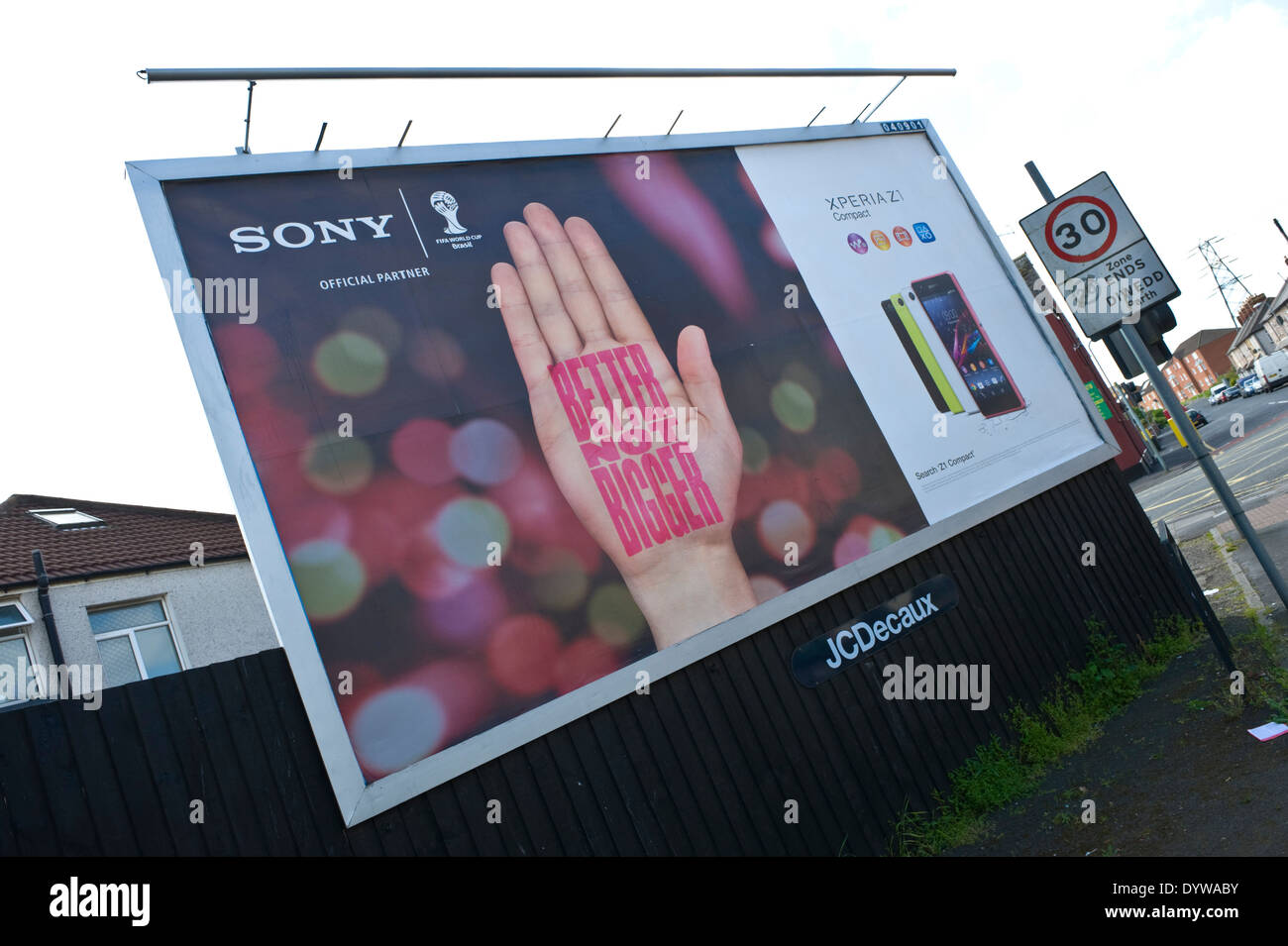 Sony Xperia Z1 smart phone advertising billboards on JCDecaux roadside site in Newport South Wales UK - Stock Image