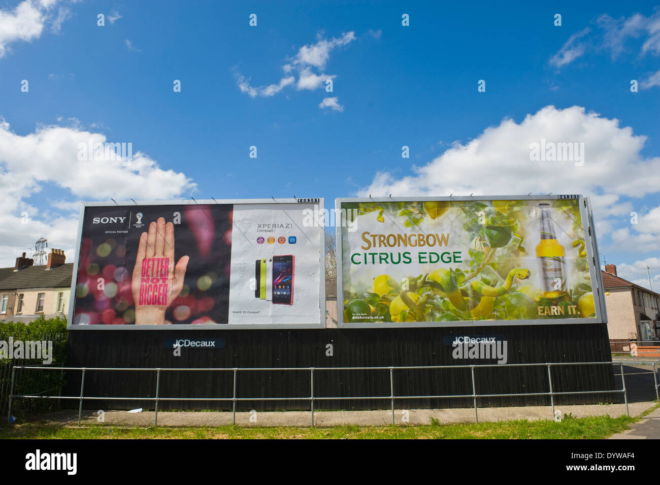 Sony Xperia Z1 smart phone & Bulmer's Strongbow Citrus Edge Cider advertising billboards on JCDecaux roadside site in Newport South Wales UK - Stock Image