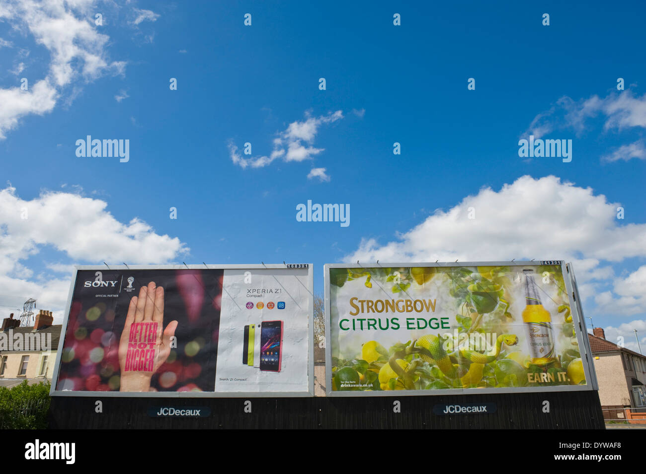 Sony Xperia Z1 smart phone & Bulmer's Strongbow Citrus Edge Cider 48 sheet poster advertising billboards on JCDecaux roadside site in Newport South Wales UK - Stock Image