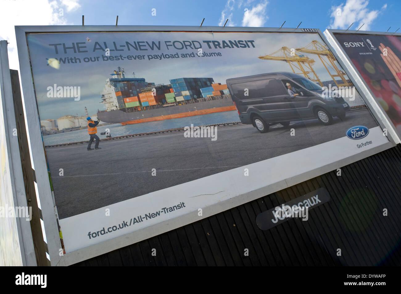 Ford Transit Van advertising billboard on JCDecaux roadside site in Newport South Wales UK - Stock Image