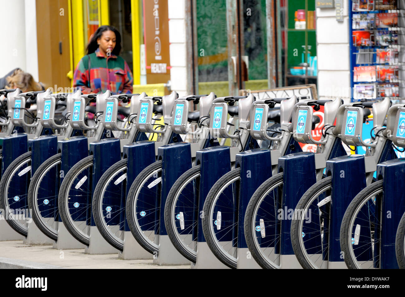 London, England, UK. Boris Bikes - Barclays hire cycles. Docking station in Drury Lane - Stock Image