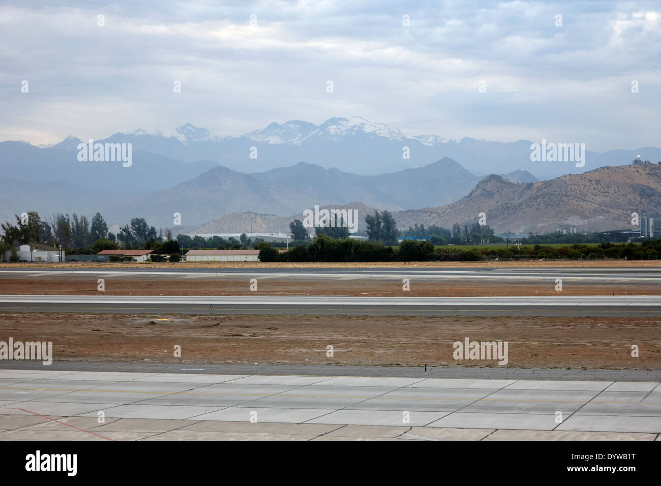 Runways and coastal mountain range at Comodoro Arturo Merino Benitez International Airport Santiago Chile - Stock Image