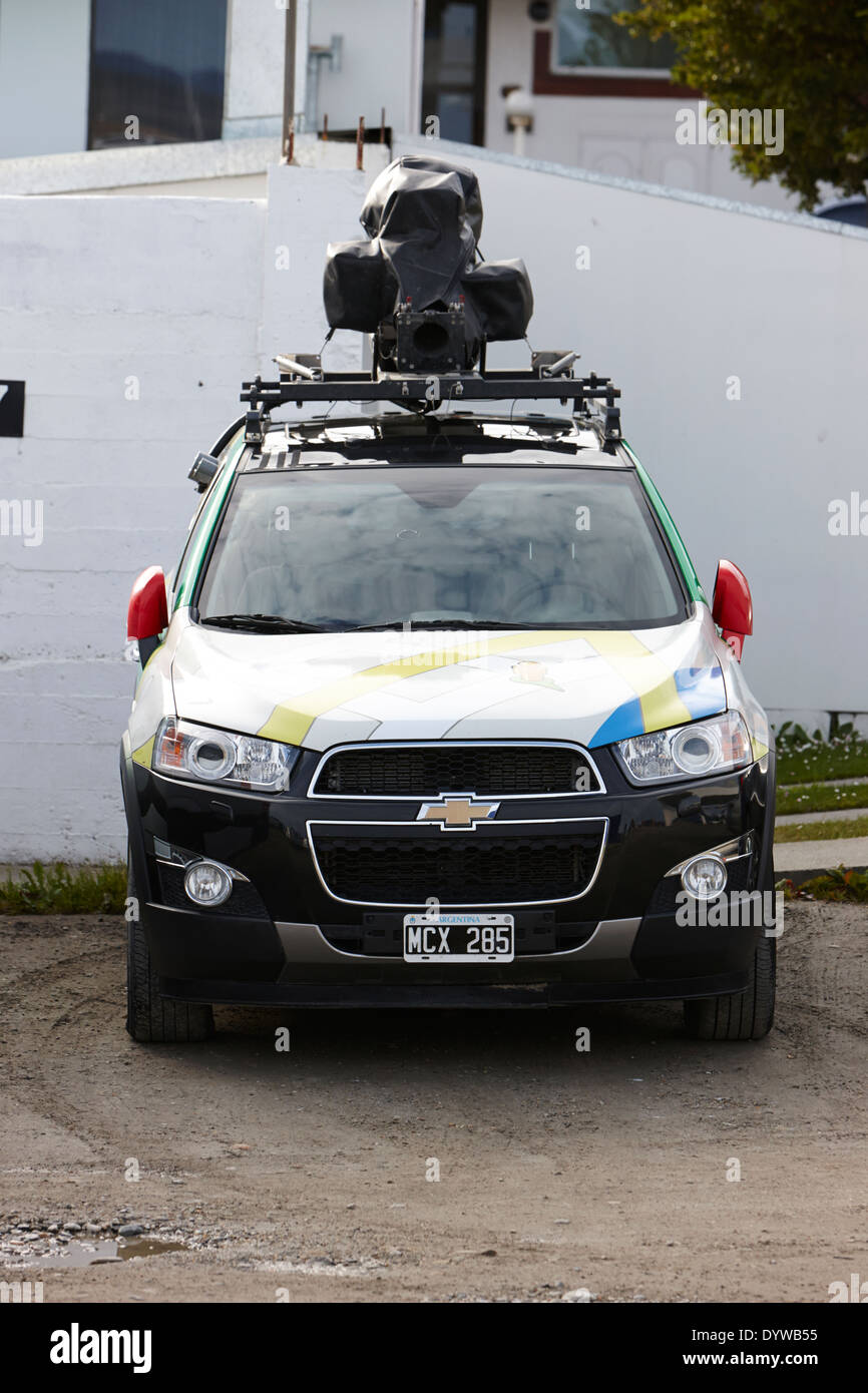 google street view car parked in ushuaia argentina - Stock Image