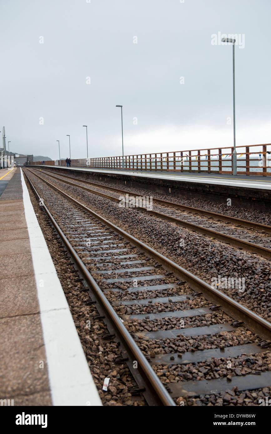 Newly re-opened railway station after the 2014 storm damage in Dawlish, Devon UK - Stock Image