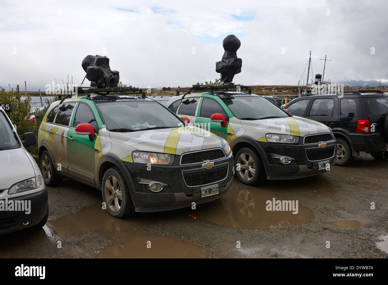 google street view cars parked in ushuaia argentina - Stock Image