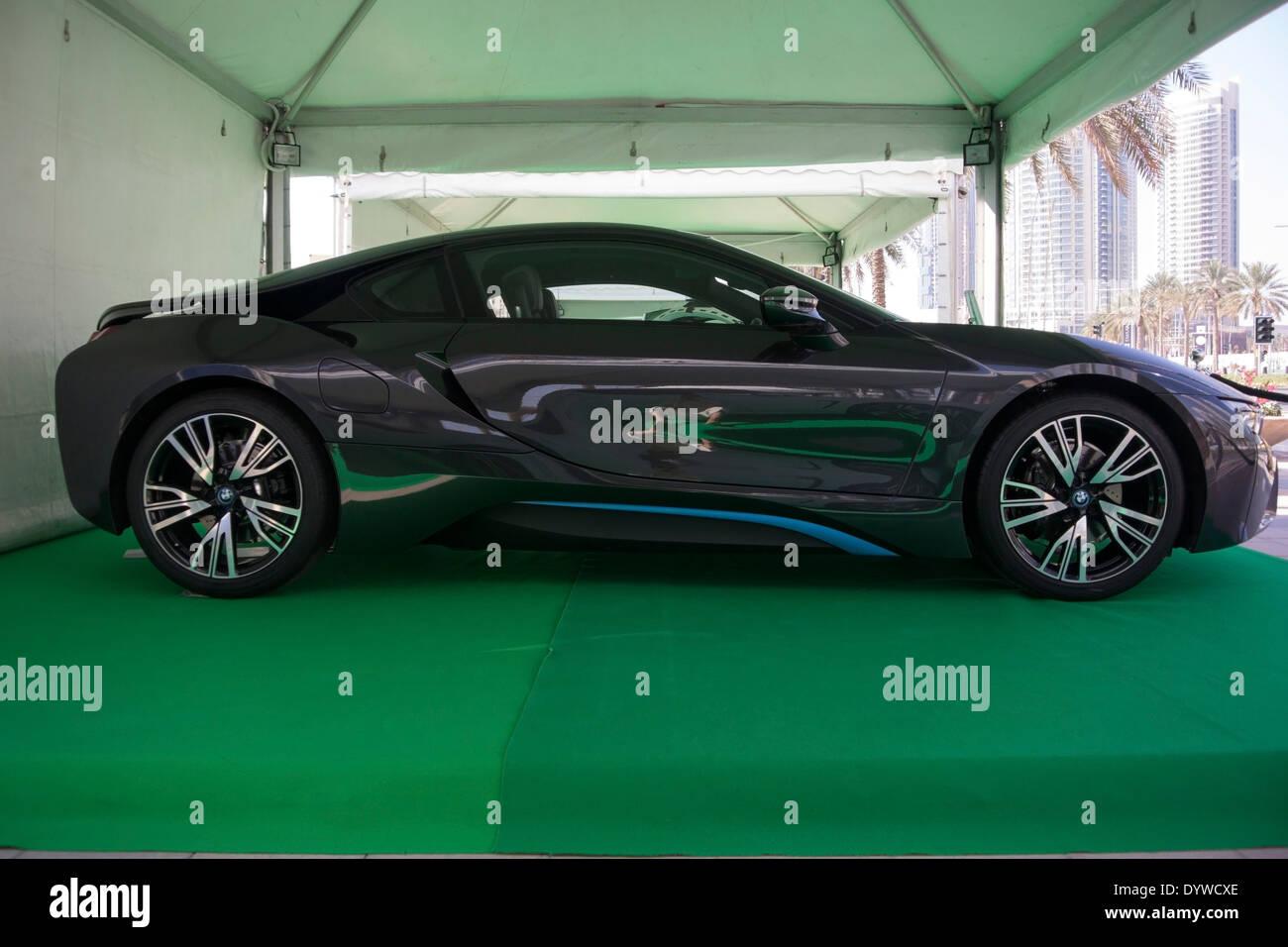 2014 Black BMW i8 Hybrid 2 door gullwing sports coupe - Stock Image