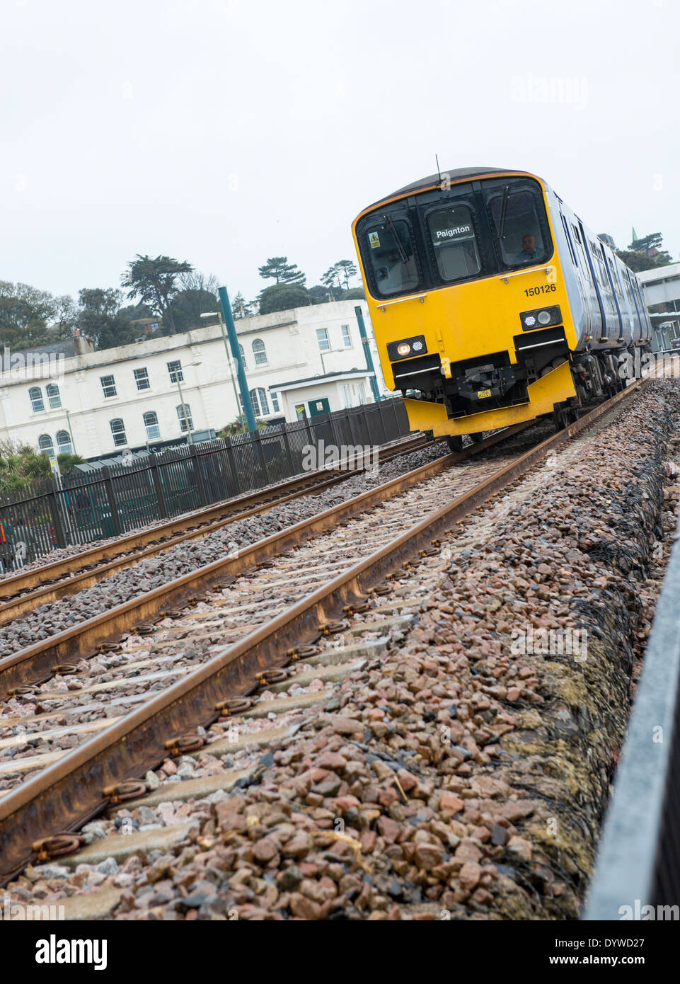 Newly re-opened railway track after the 2014 storm damage in Dawlish, Devon UK - Stock Image