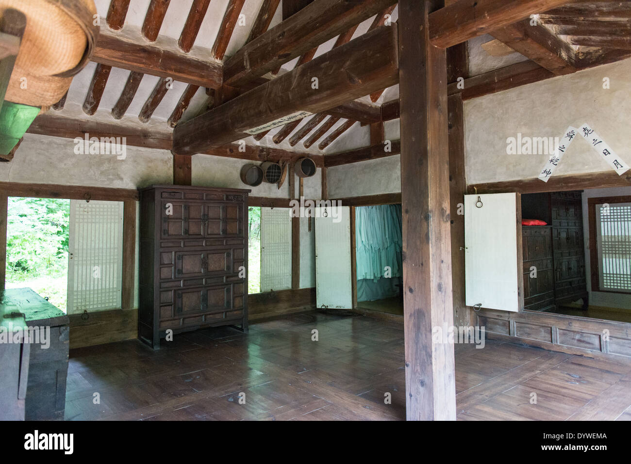 Inside an old traditional korean house with paper walls stock image