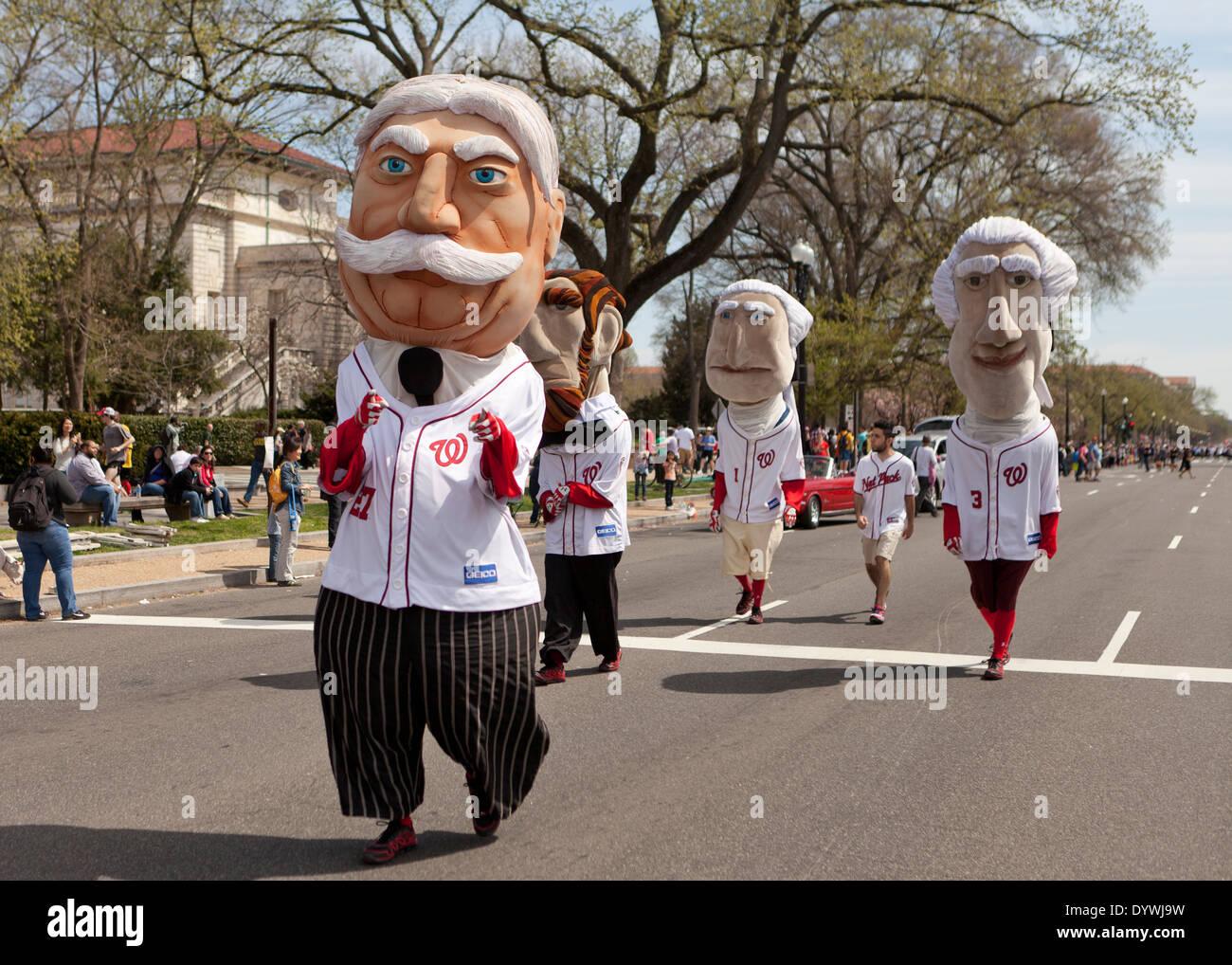 The Racing Presidents, Washington Nationals baseball team mascots - Washington, DC USA - Stock Image