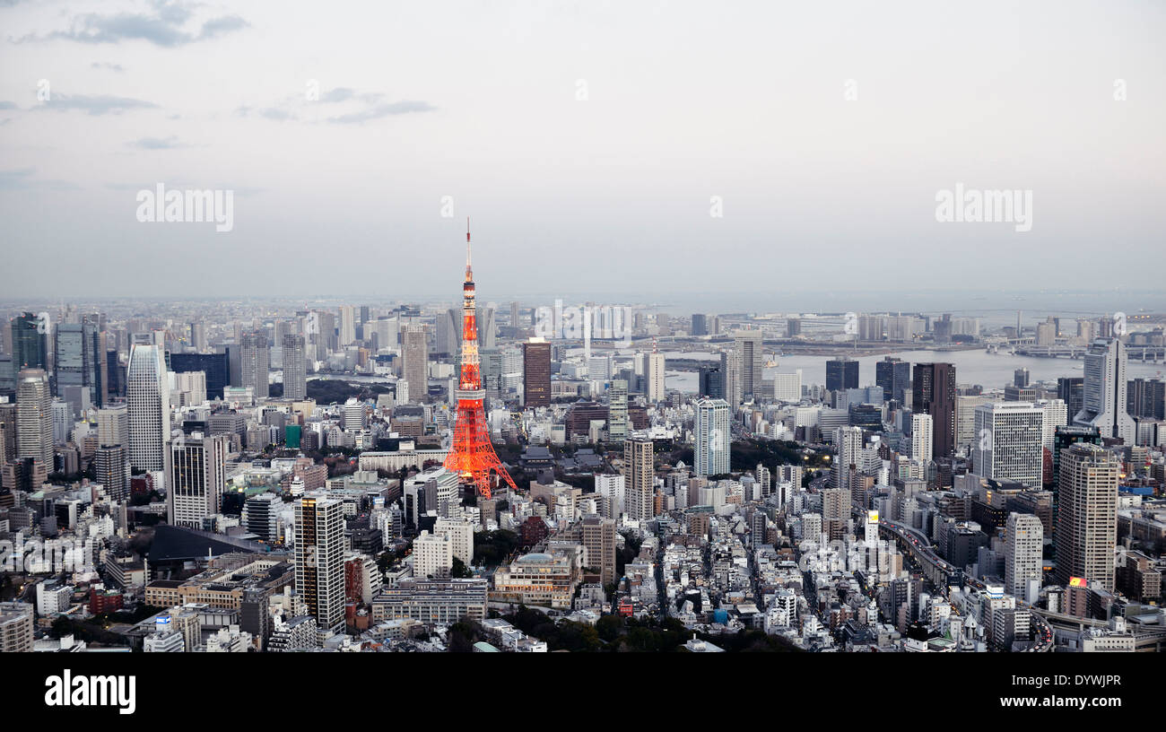 tokyo tower in city landscape aerial view panorama tokyo japan