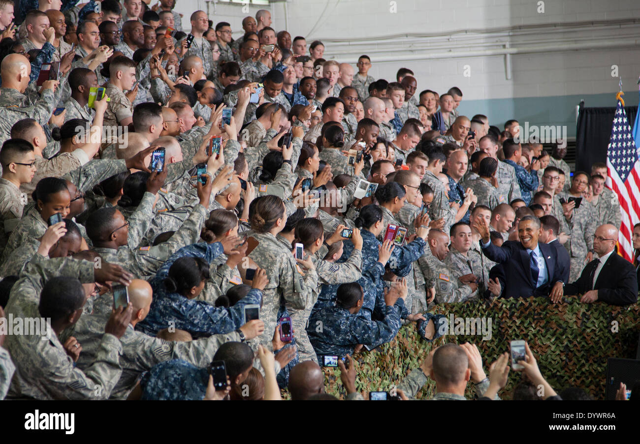 US President Barack Obama greets troops and their families at U.S. Army Garrison Yongsan April 26, 2014 Seoul, South Korea. Obama warned North Korea that the United States 'will not hesitate to use our military might' to defend allies. - Stock Image