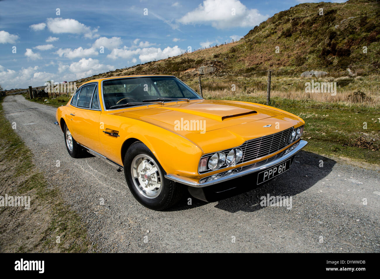 Roger Moores Yellow 1971 Aston Martin Dbs From The Tv Show The Stock Photo Alamy