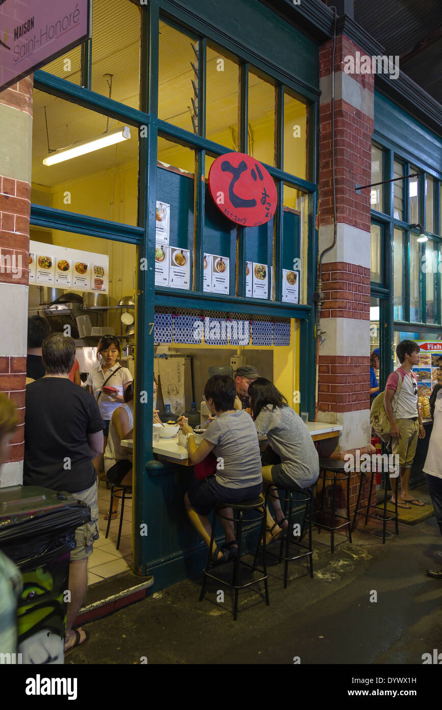 People at a food stay inside Fremantle Market Western Australia - Stock Image