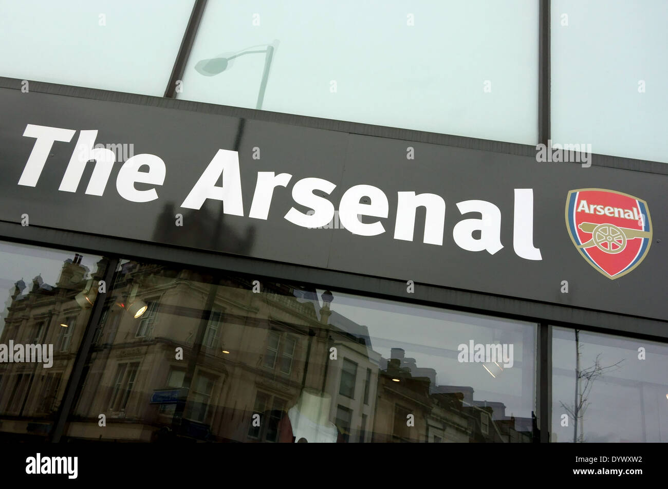 3960a2a3a66 Sign on Arsenal FC supporters' shop, Finsbury Park, North London - Stock  Image