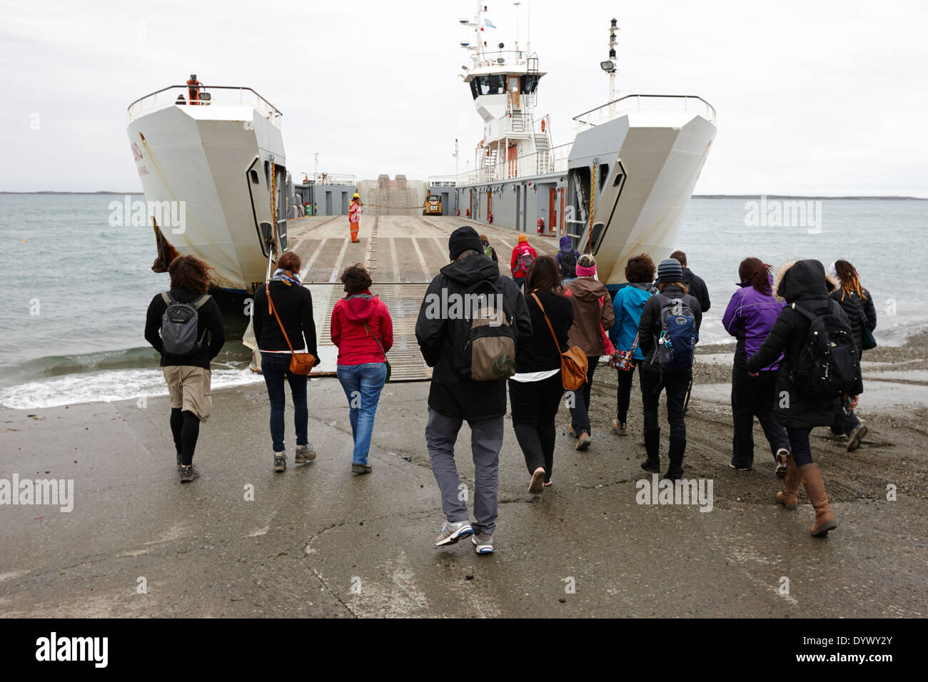 passengers boarding fueguino ferry Punta Delgada and the primera angostura sound in the strait of magellan Chile - Stock Image