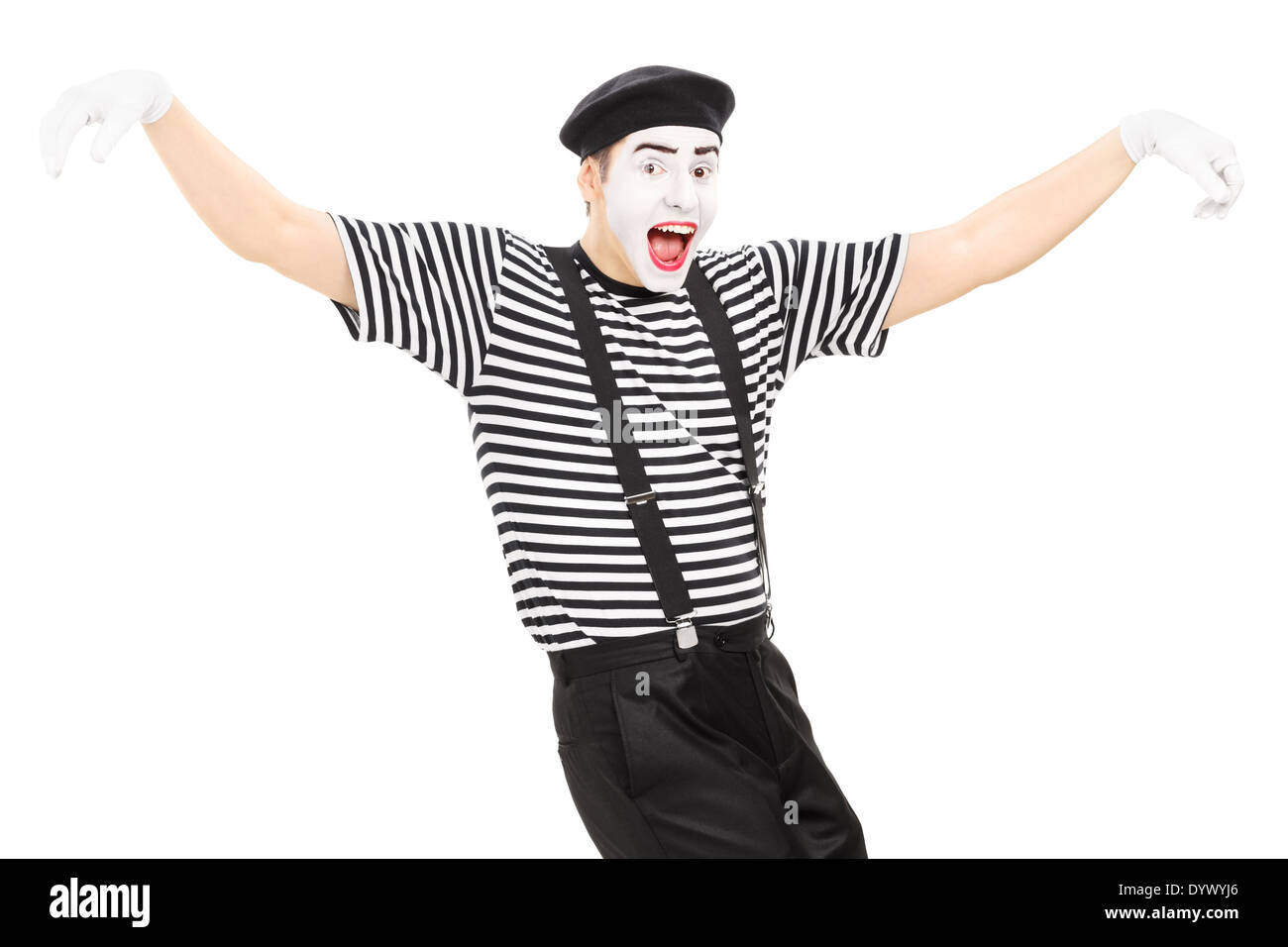 Happy mime artist dancing - Stock Image