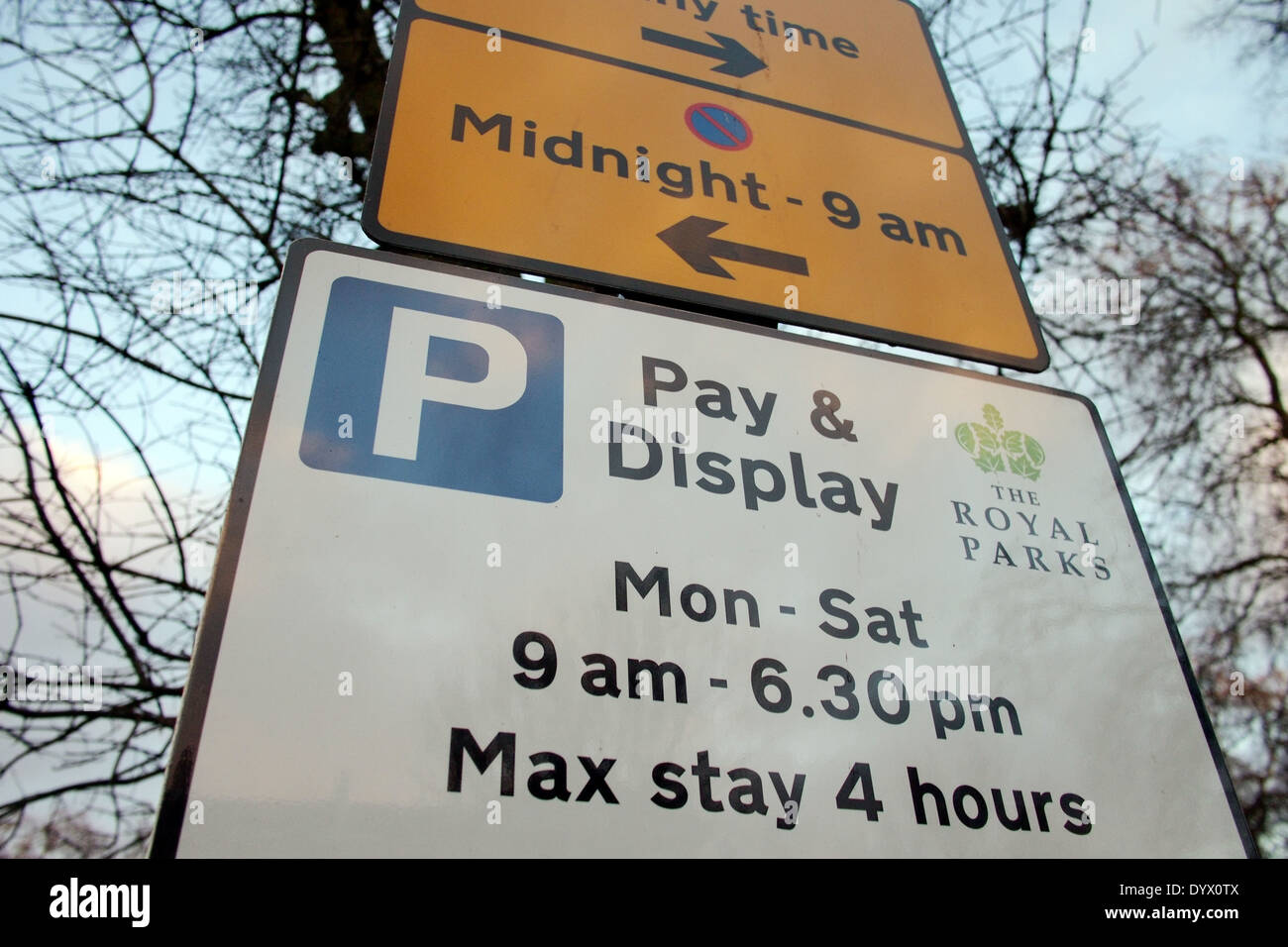 Pay and Display road parking sign in London UK - Stock Image