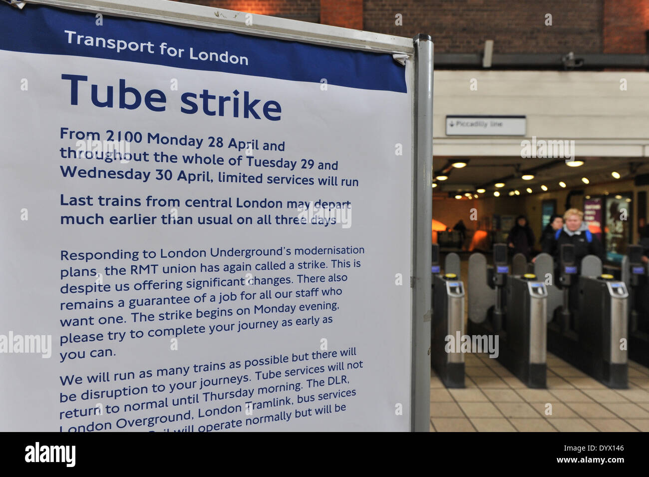 Turnpike Lane Station, London, UK. 26th April 2014. A notice in Turnpike Lane station alerting travellers of next weeks 48hr tube strike. Credit:  Matthew Chattle/Alamy Live News - Stock Image