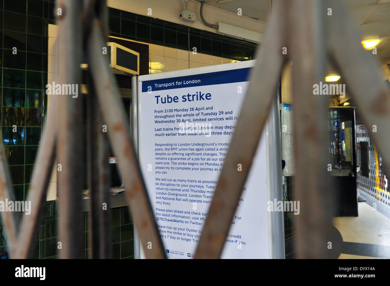 Covent Garden, London, UK. 26th April 2014. The notice inside Covent Garden station alerting travellers of next weeks 48hr tube strike. Credit:  Matthew Chattle/Alamy Live News - Stock Image