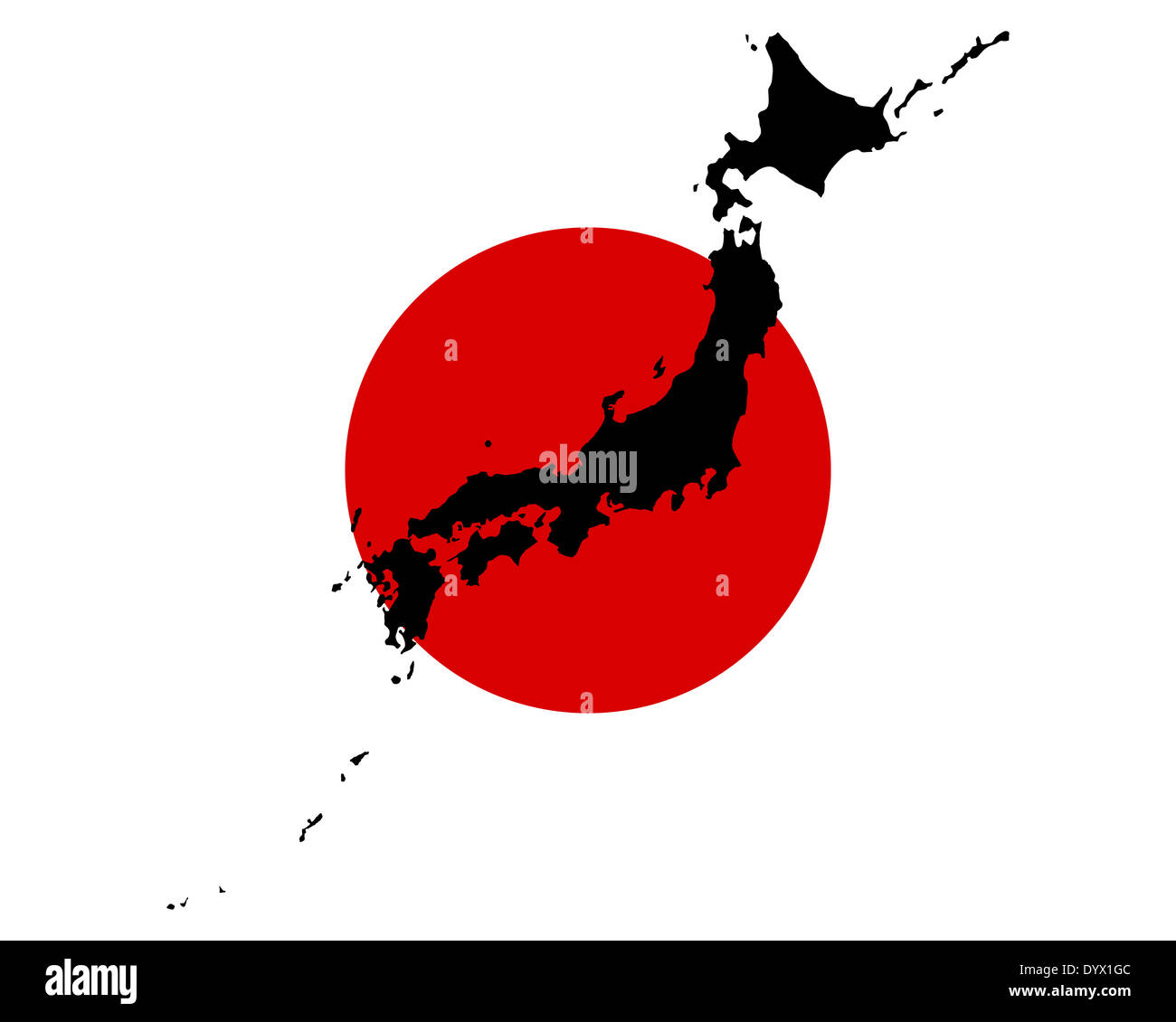 Map and flag of Japan Stock Photo
