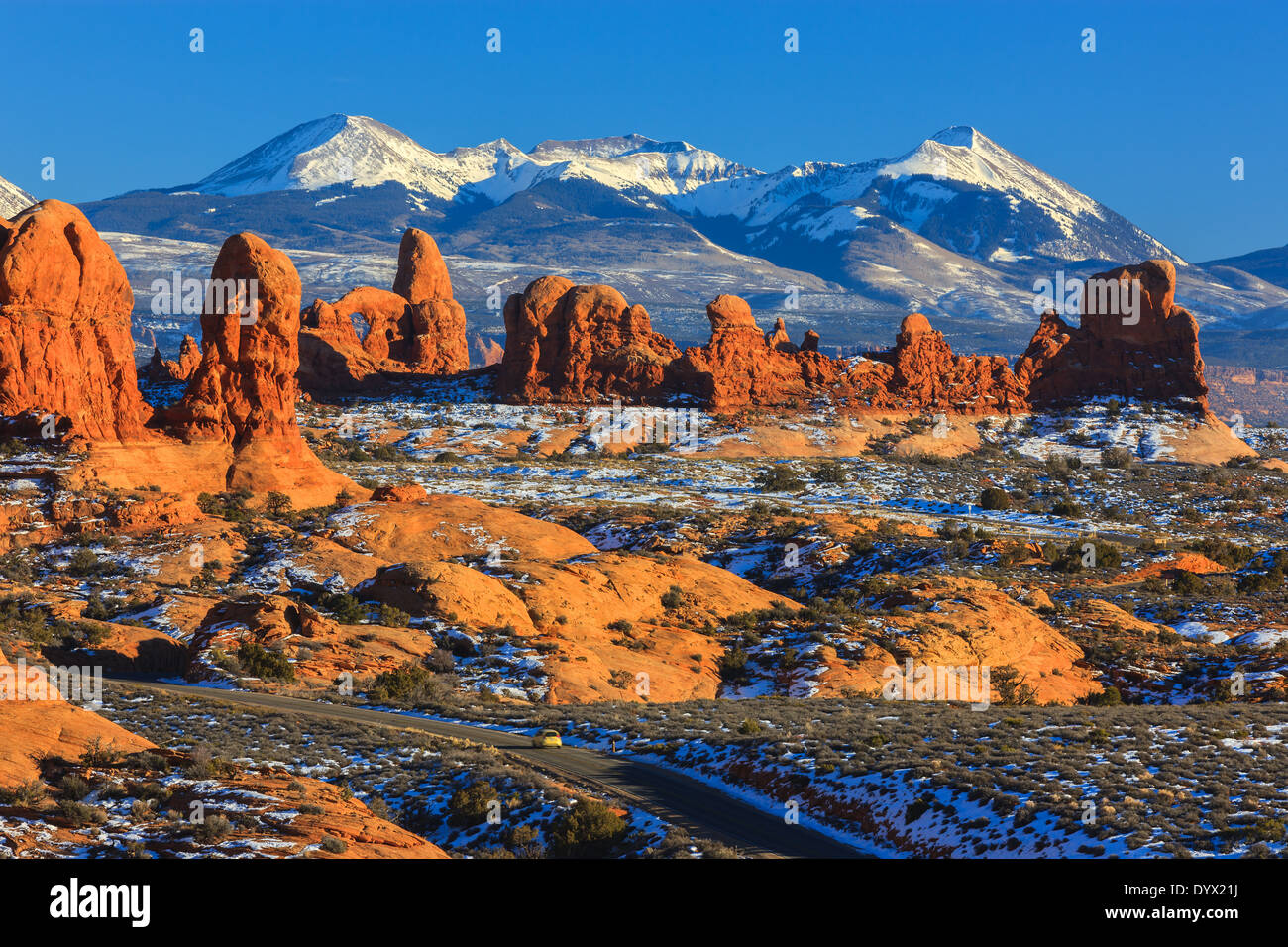 Winter scenery in Arches National Park, near Moab, Utah - USA - Stock Image
