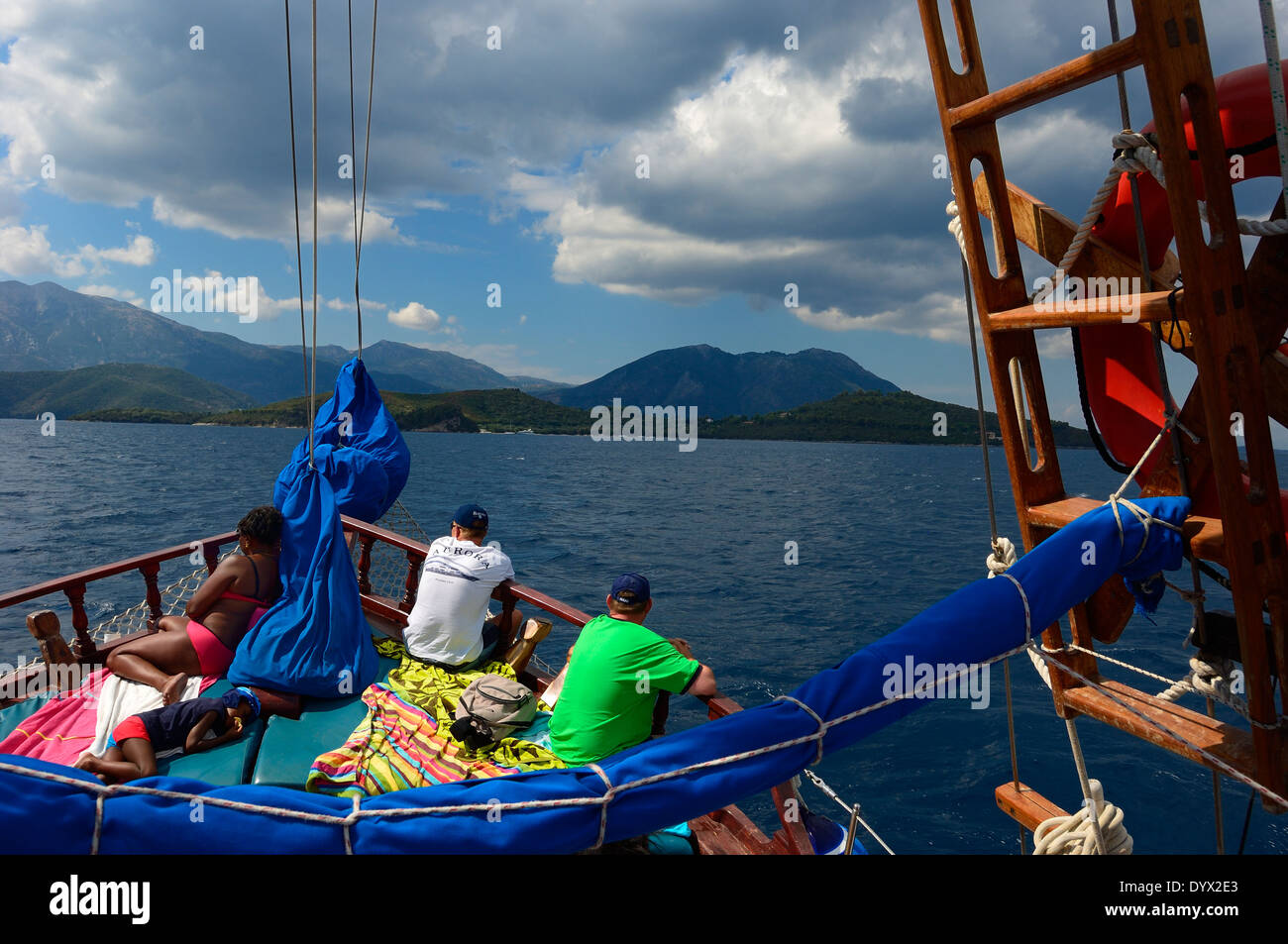 Tourists on deck of a yacht sailing near the island Lefkas. MS Christina Cruises in Ionian Sea, Lefkas, Ionian Islands, Stock Photo