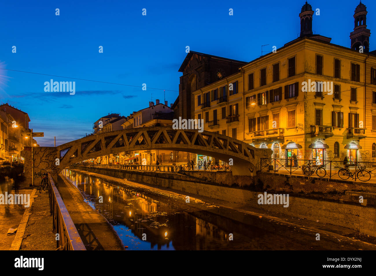 Bridge over Naviglio Grande canal, Milan, Lombardy, Italy - Stock Image