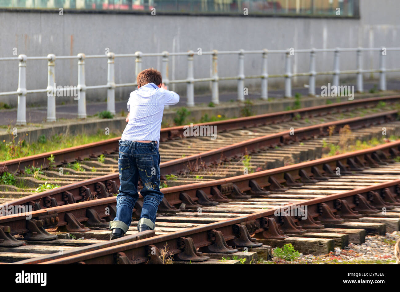 Keep off the Railway Lines....Keep children of railway track. - Stock Image