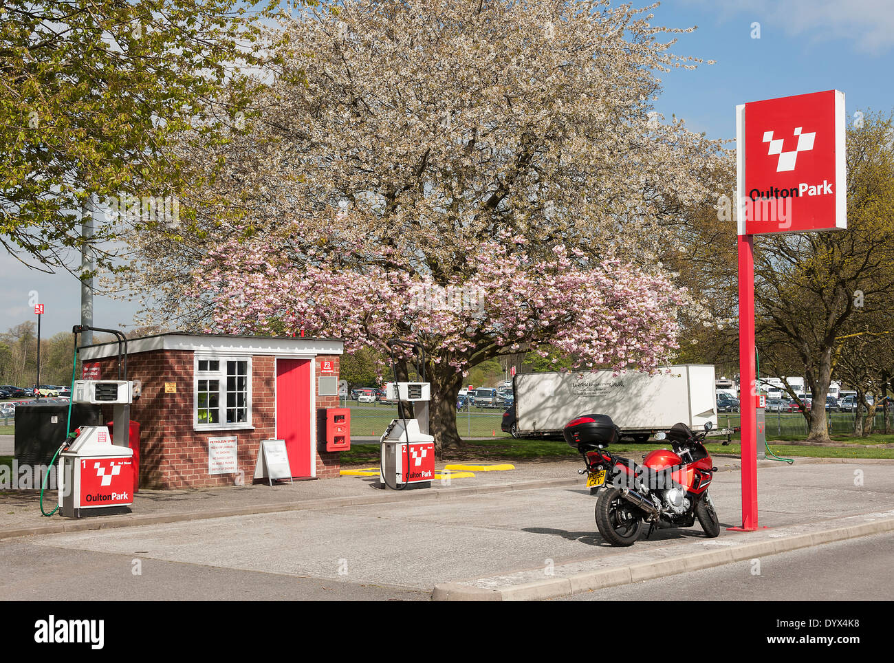 Small Filling Station Selling Diesel in the Paddock at Oulton Park Motor Racing Circuit Cheshire England United Kingdom UK - Stock Image