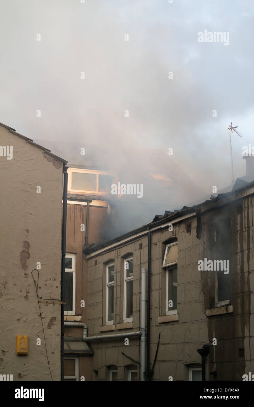 Blackpool hotel fire The Misterton on Blundell street Stock Photo