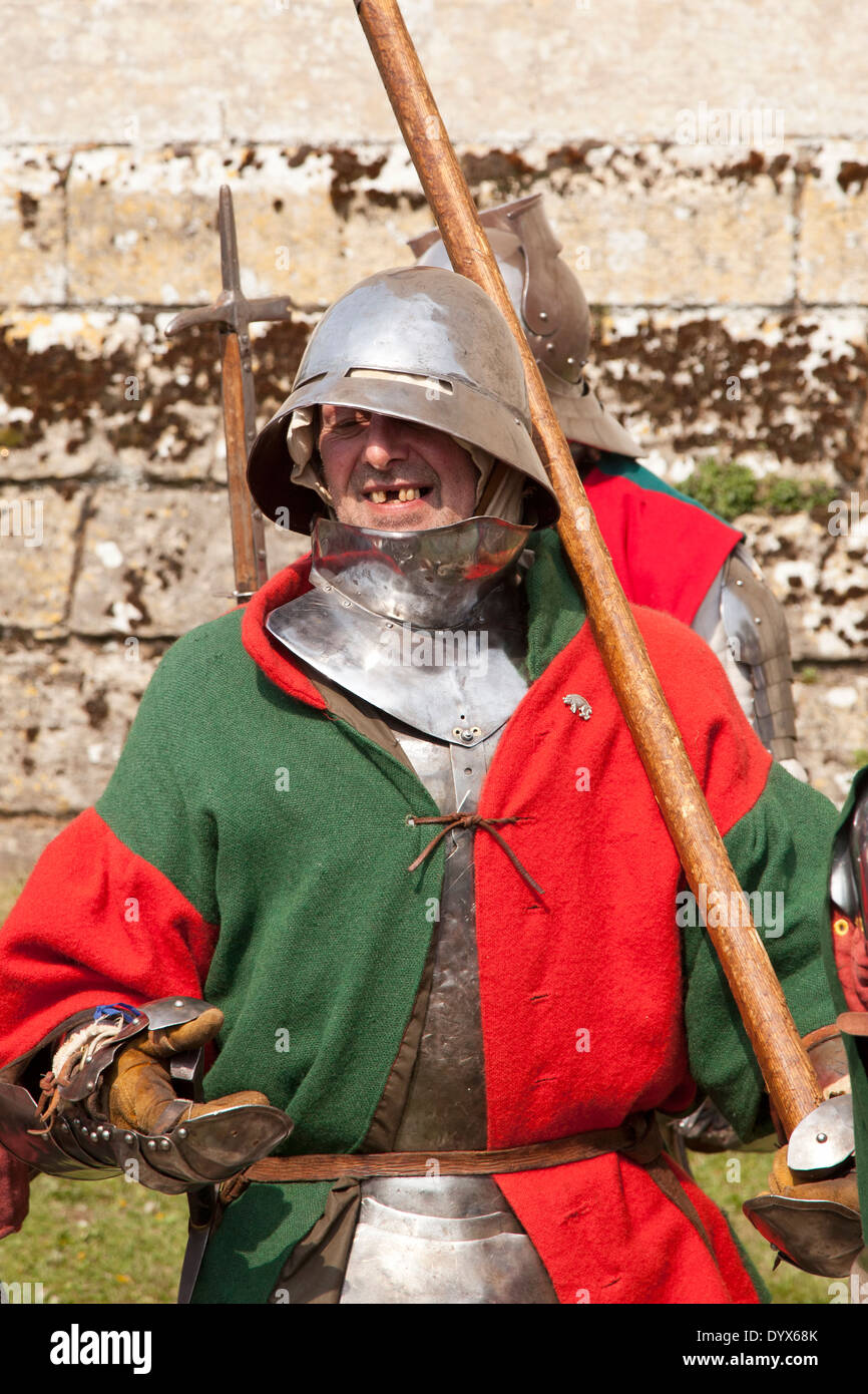 Happy medieval soldier - Stock Image