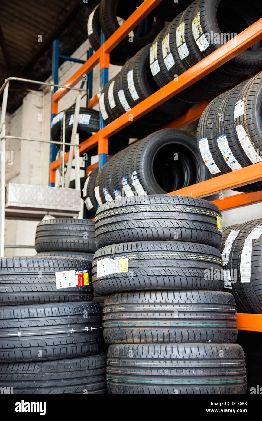 New tyres for sale at a garage, UK. - Stock Image