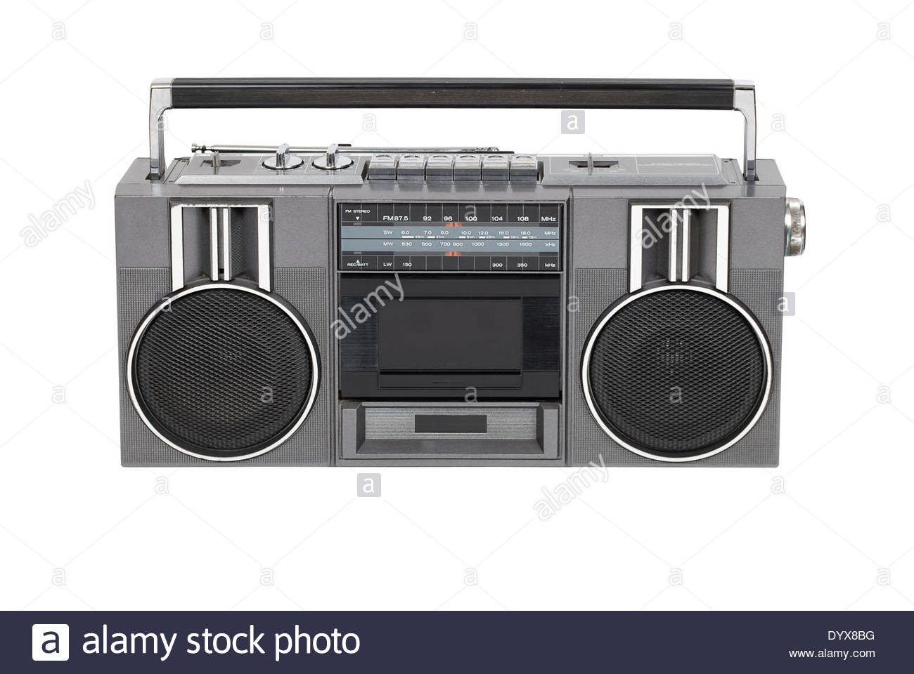 An old retro radio cassette player, isolated on white with path - Stock Image