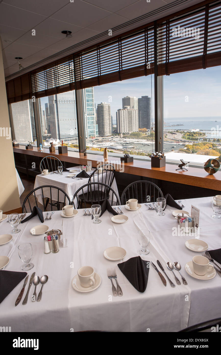 Cliff Dwellers Club interior and skyline view in Chicago, Illinois USA - Stock Image