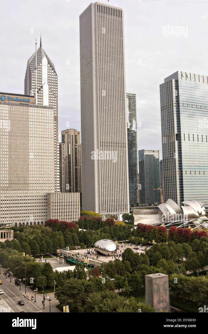 Aerial view of the from the Cliff Dwellers Club of Aon Center and Millennium Park in Chicago, Illinois USA - Stock Image
