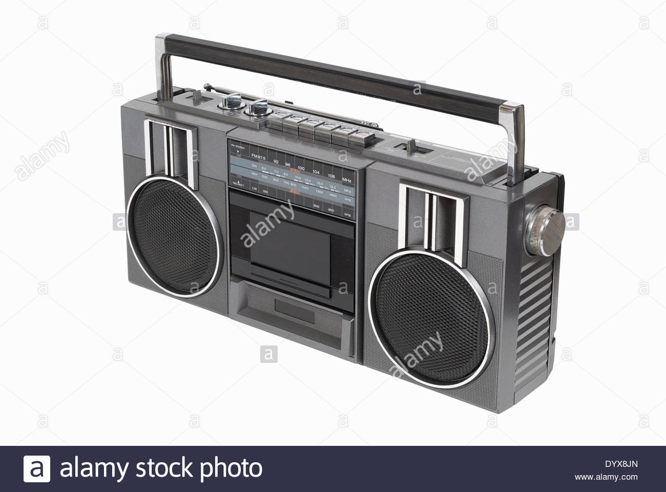Retro portable radio cassette player from the 80's. Isolated on white with path - Stock Image