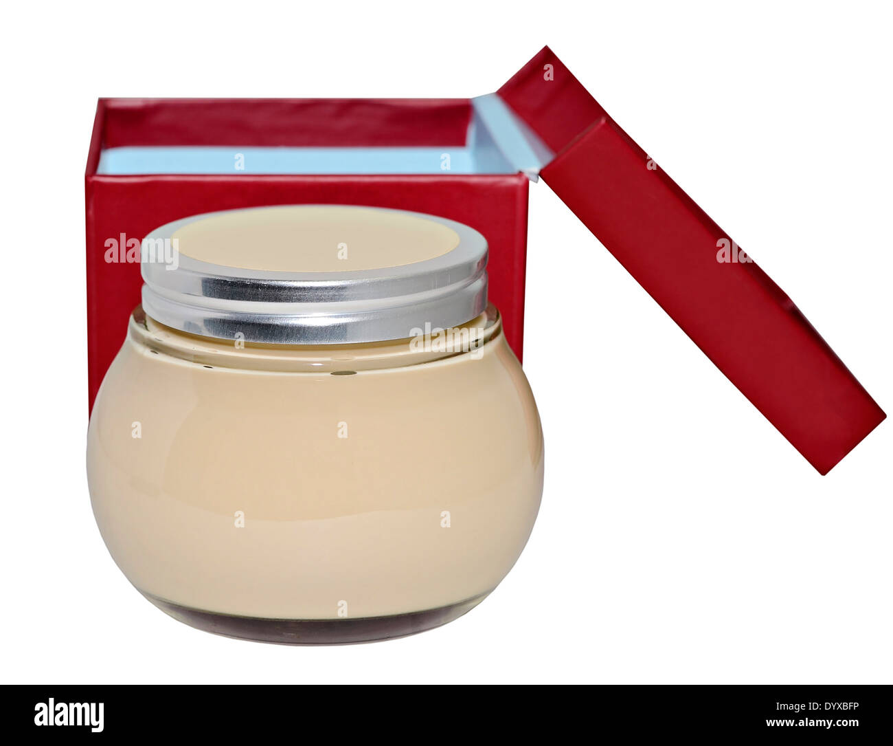 A jar of lotion or cream with red and blue box on a white background. - Stock Image