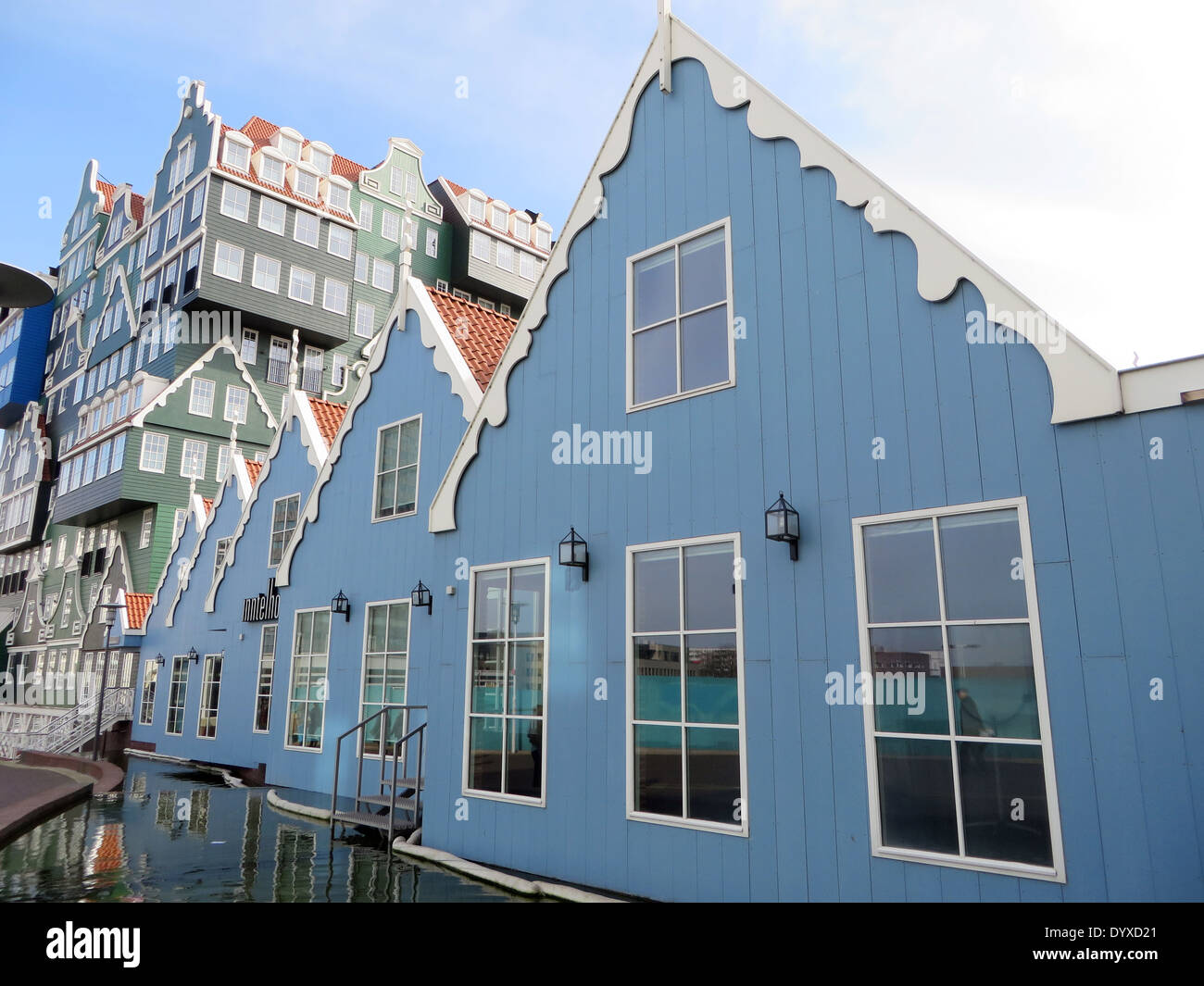 Contemporary architecture, which shamelessly cites the traditional local building style of the wooden Zaandam houses - Stock Image