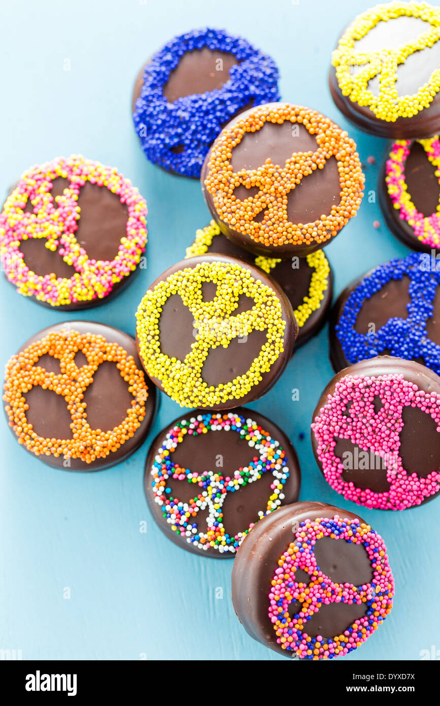 Gourmet Chocolate covered Oreos with colorful sprinkles on
