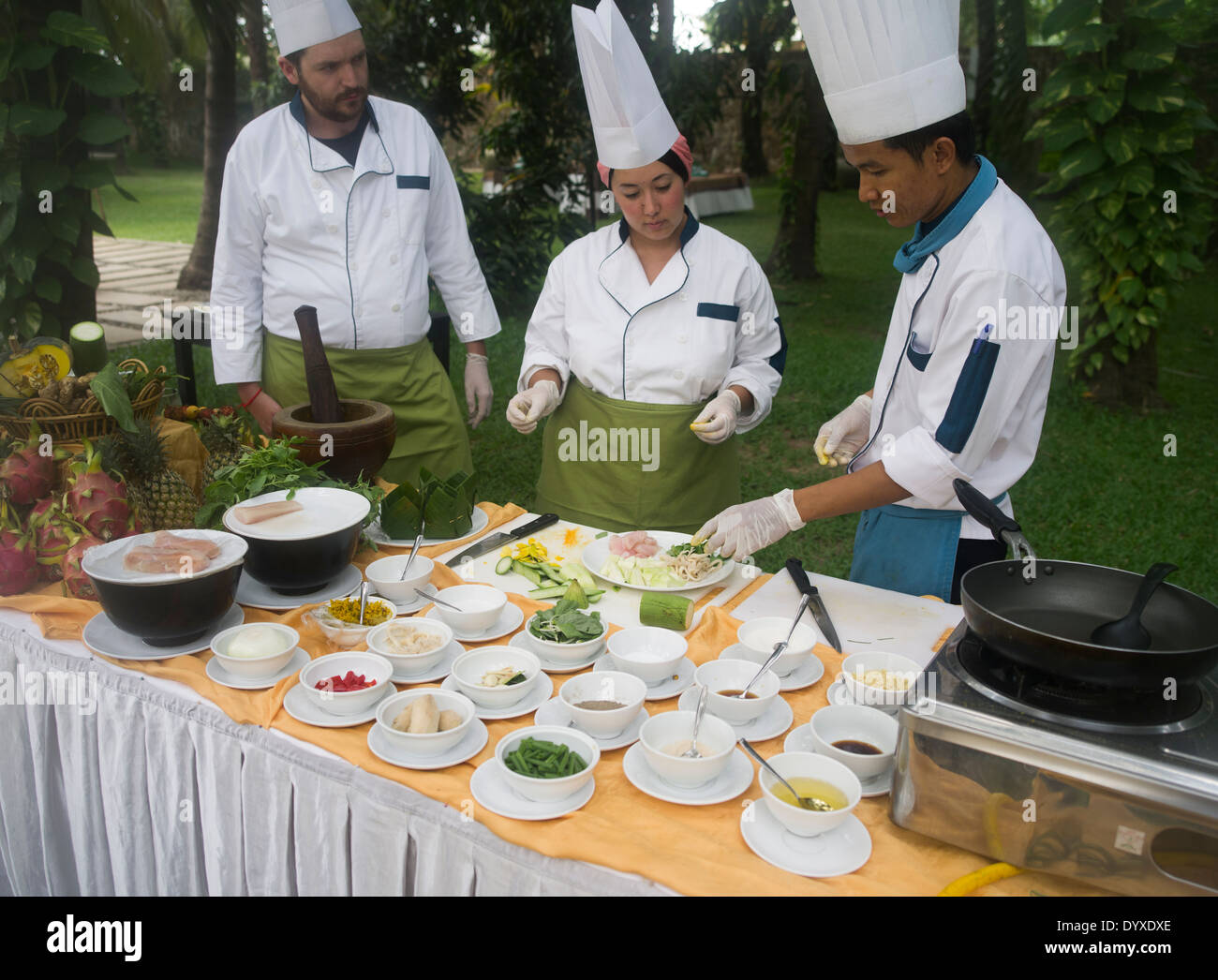 Cambodian Cooking Class at Lotus Blanc Hotel, Siem Reap, Cambodia - Stock Image