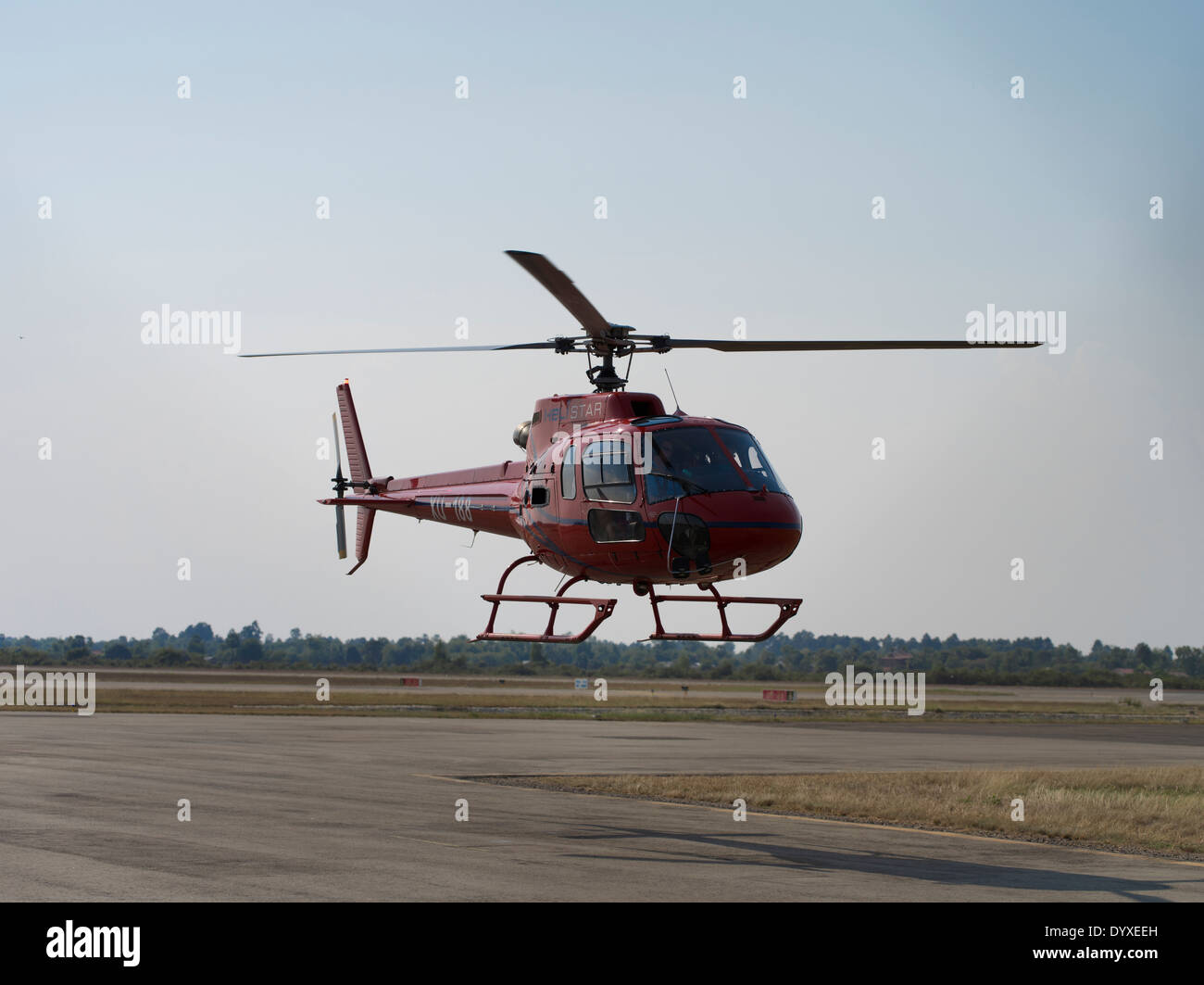 Helistar Helicopter at Angkor Wat - Siem Reap, Cambodia Stock Photo
