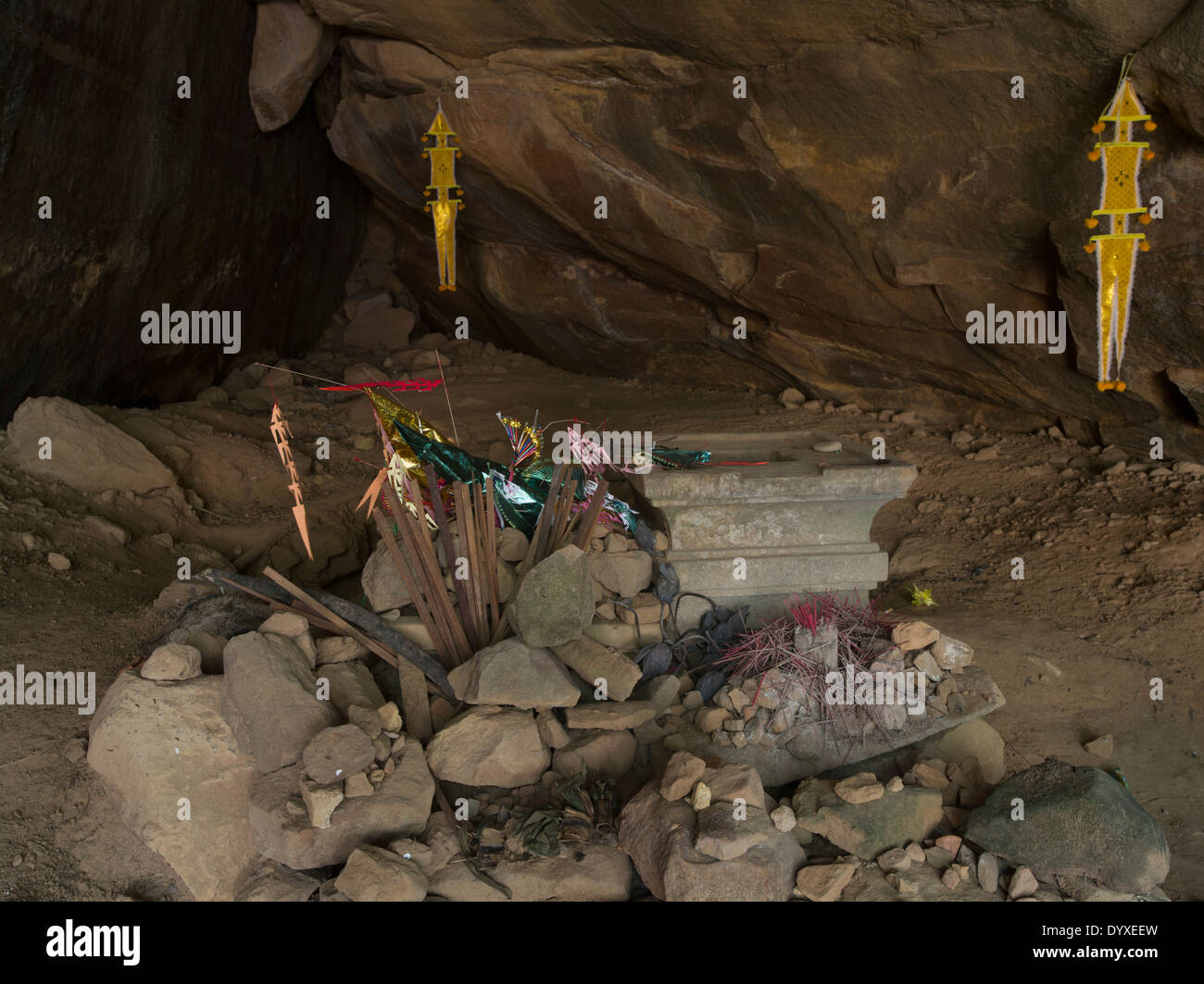 Cave with small shrine at Kbal Spean  northeast of Angkor. Siem Reap, Cambodia - Stock Image