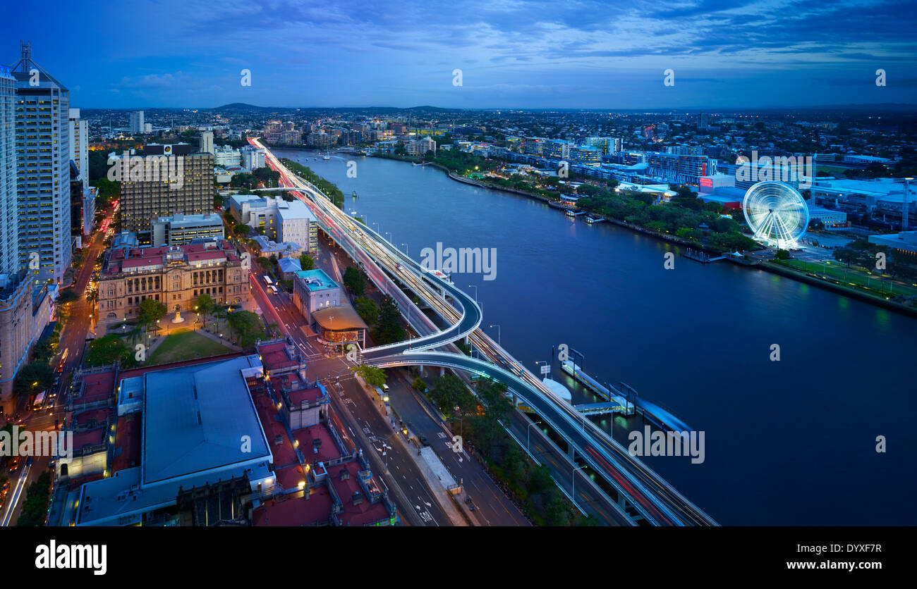 Brisbane city aerial at night, QLD Australia Stock Photo