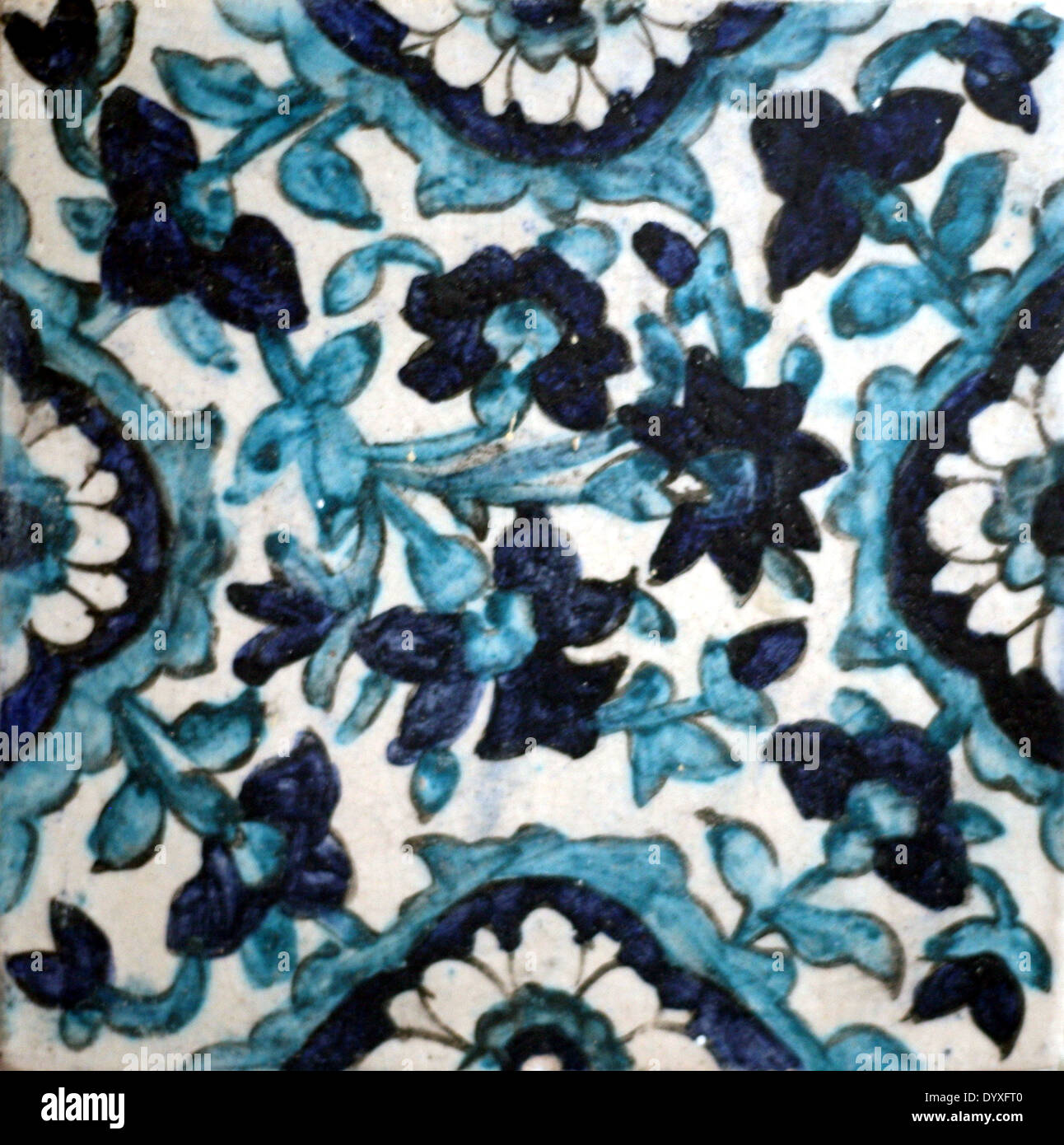 Hand-made blue and white ceramic tile from Pakistan Stock Photo ...
