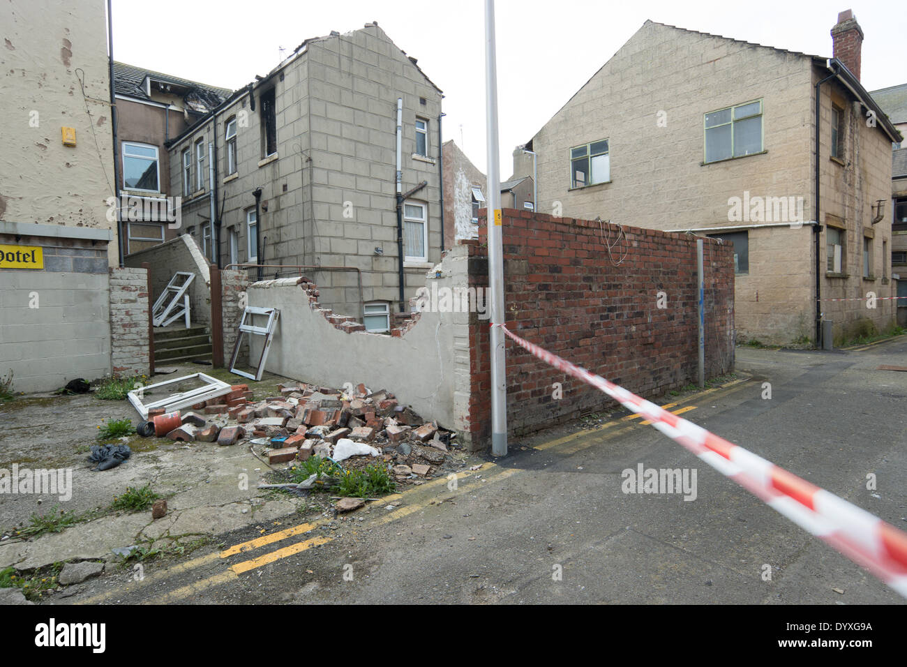 Blackpool hotel fire The Misterton on Blundell street Stock Photo