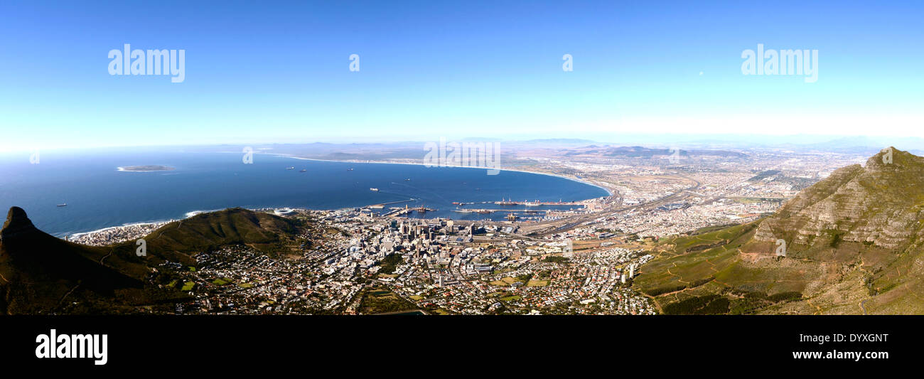 Panorama view over Cape Town in South Africa from Table mountain Stock Photo